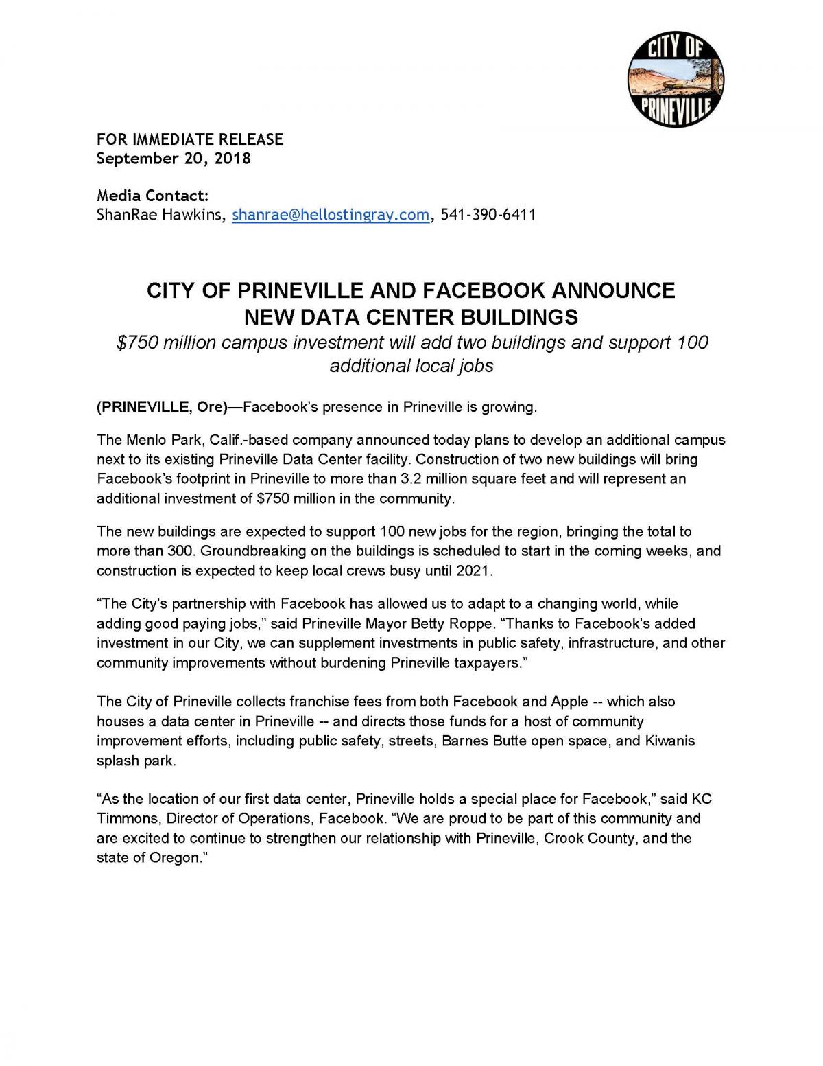 City of Prineville and Facebook Announce Additional Investment of